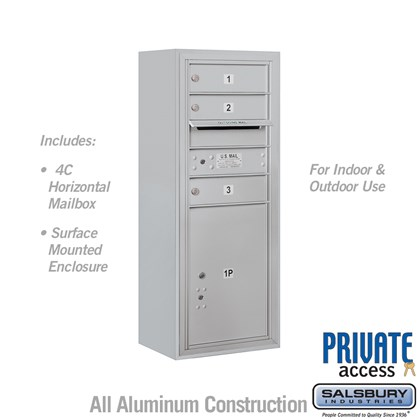 Surface Mounted 4C Horizontal Mailbox Unit (Includes 3710S-03 Mailbox, 3810S Enclosure and Master Commercial Locks) - 10 Door High Unit (38 1/2 Inches) - Single Column - 3 MB1 Doors / 1 PL5