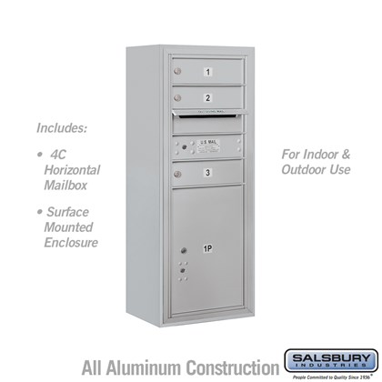Surface Mounted 4C Horizontal Mailbox Unit (Includes 3710S-03 Mailbox and 3810S Enclosure) - 10 Door High Unit (38 1/2 Inches) - Single Column - 3 MB1 Doors / 1 PL5