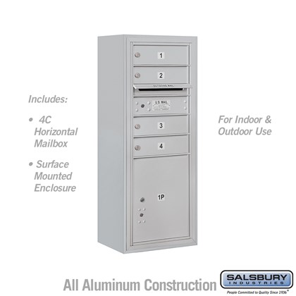 Surface Mounted 4C Horizontal Mailbox Unit (Includes 3710S-04 and 3810S) - 10 Door High Unit (38 1/2 Inches) - Single Column - 4 MB1 Doors / 1 PL4.5 - Front Loading - USPS Access