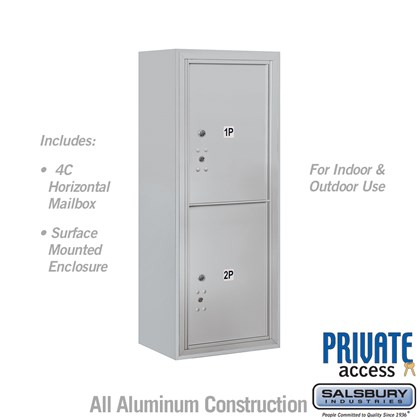 Surface Mounted 4C Horizontal Mailbox Unit (Includes 3710S-2P Parcel Locker, 3810S Enclosure and Master Commercial Locks) - 10 Door High Unit (38 1/2 Inches) - Single Column - 2 PL5's
