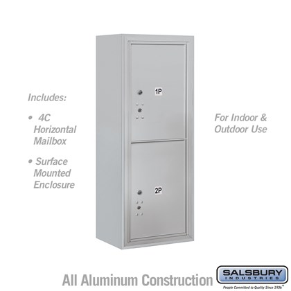 Surface Mounted 4C Horizontal Mailbox Unit (Includes 3710S-2P Parcel Locker and 3810S Enclosure) - 10 Door High Unit (38 1/2 Inches) - Single Column - Stand-Alone Parcel Locker - 2 PL5's