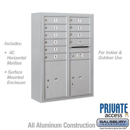 Surface Mounted 4C Horizontal Mailbox Unit (Includes 3711D-10 Mailbox, 3811D Enclosure and Master Commercial Locks) - 11 Door High Unit (42 Inches) - Double Column - 10 MB1 Doors / 2 PL5's
