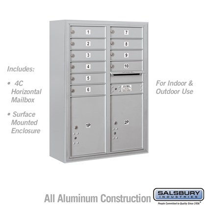 Surface Mounted 4C Horizontal Mailbox Unit (Includes 3711D-10 Mailbox and 3811D Enclosure) - 11 Door High Unit (42 Inches) - Double Column - 10 MB1 Doors / 2 PL5's
