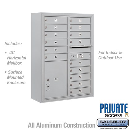 Surface Mounted 4C Horizontal Mailbox Unit (Includes 3711D-15 Mailbox, 3811D Enclosure and Master Commercial Locks) - 11 Door High Unit (42 Inches) - Double Column - 15 MB1 Doors / 1 PL5