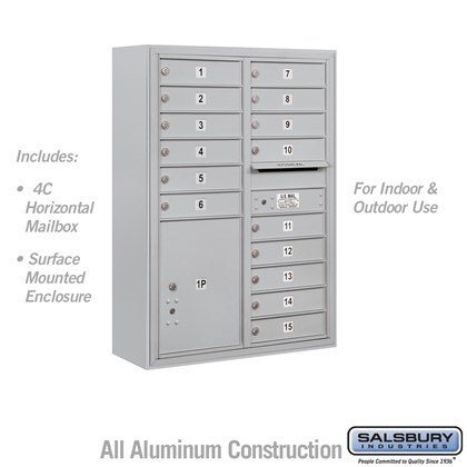 Surface Mounted 4C Horizontal Mailbox Unit (Includes 3711D-15 Mailbox and 3811D Enclosure) - 11 Door High Unit (42 Inches) - Double Column - 15 MB1 Doors / 1 PL5