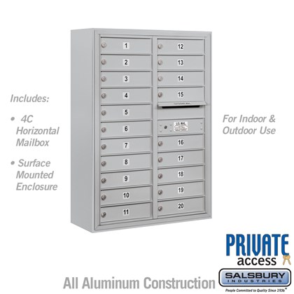 Surface Mounted 4C Horizontal Mailbox Unit (Includes 3711D-20 Mailbox, 3811D Enclosure and Master Commercial Lock) - Double Column - 20 MB1 Doors