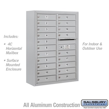 Surface Mounted 4C Horizontal Mailbox Unit (Includes 3711D-20 Mailbox and 3811D Enclosure) - 11 Door High Unit (42-1/8 Inches) - Double Column - 20 MB1 Doors
