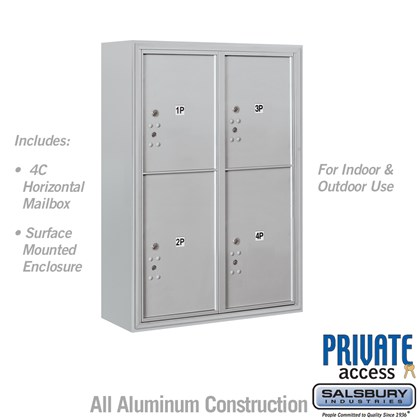 Surface Mounted 4C Horizontal Mailbox Unit (Includes 3711D-4P Parcel Locker, 3816D Enclosure and Master Commercial Locks) - 11 Door High Unit (42 Inches) - Double Column - Stand-Alone Parcel Locker - 2 PL5's and 2 PL6's - Front Loading - Private Access