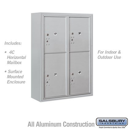 Surface Mounted 4C Horizontal Mailbox Unit (Includes 3711D-4P Parcel Locker and 3816D Enclosure) - 11 Door High Unit (Includes (42 1/8 Inches) - Double Column - Stand-Alone Parcel Locker - 2 PL5's and 2 PL6's - Front Loading - USPS Access