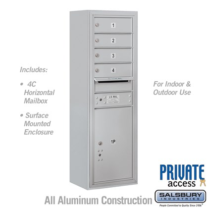 Surface Mounted 4C Horizontal Mailbox Unit (Includes 3711S-04 Mailbox, 3811S Enclosure and Master Commercial Locks) - 11 Door High Unit (42 Inches) - Single Column - 4 MB 1 Doors / 1 PL5