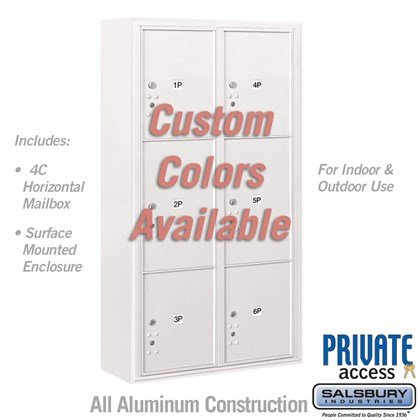 Surface Mounted 4C Horizontal Mailbox Unit (Includes 3716D-6PCFP Parcel Locker, 3816D-CST Enclosure and Master Commercial Locks) - Maximum Height Unit (57-3/4 Inches) - Double Column - Stand-Alone Parcel Locker - 2 PL4.5's, 2 PL5's and 2 PL6's