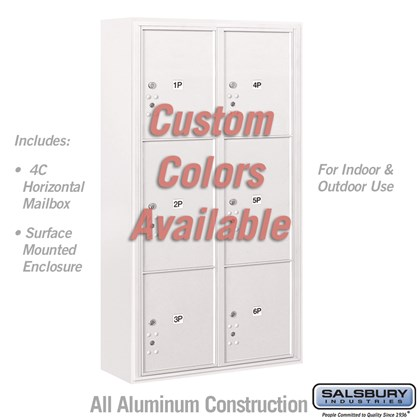 Surface Mounted 4C Horizontal Mailbox Unit (Includes 3716D-6PCFU Parcel Locker and 3816D-CST Enclosure) - Maximum Height Unit (57-3/4 Inches) - Double Column - Stand-Alone Parcel Locker - 2 PL4.5's, 2 PL5's and 2 PL6's - Custom Color - Front Loading