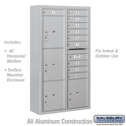 Surface Mounted 4C Horizontal Mailbox Unit (includes (includes 3716D-10 Mailbox and 3816D Enclosure) - Maximum Height Unit (57-7/8 Inches) - Double Column - 10 MB1 Doors / 2 PL4.5's and 2 PL5's - Front Loading - USPS Access