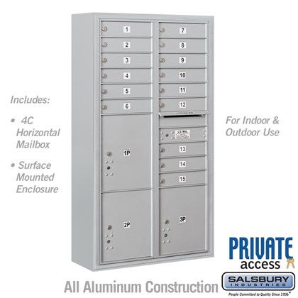 Surface Mounted 4C Horizontal Mailbox Unit (includes 3716D-15 Mailbox, 3816D Enclosure and Master Commercial Locks) - Maximum Height Unit (57 3/4 Inches) - Double Column - 15 MB1 Doors / 2 PL4.5's and 1 PL5 - Front Loading - Private Access