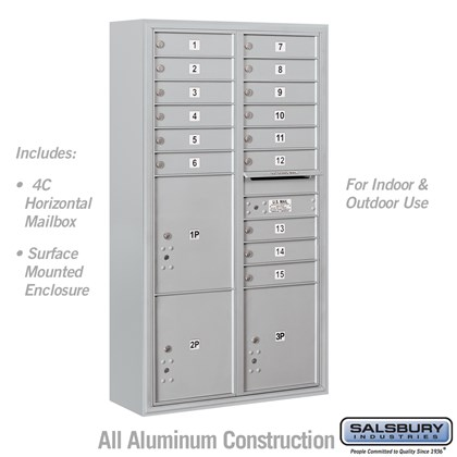 Surface Mounted 4C Horizontal Mailbox Unit (includes 3716D-15 Mailbox and 3816D Enclosure) - Maximum Height Unit (57-7/8 Inches) - Double Column - 15 MB1 Doors / 2 PL4.5's and 1 PL5 - Front Loading - USPS Access