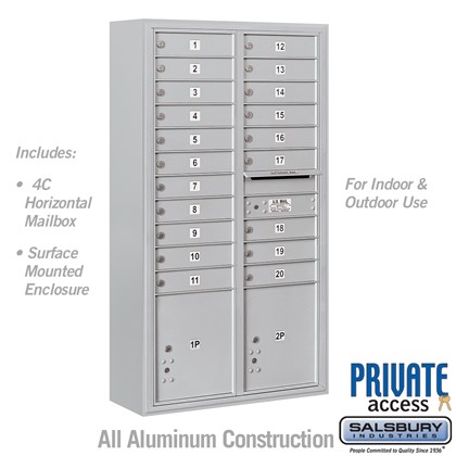Surface Mounted 4C Horizontal Mailbox Unit (Includes 3716D-20 Mailbox, 3816D Enclosure and Master Commercial Locks) - Maximum Height Unit (57 3/4 Inches) - Double Column - 20 MB1 Doors / 2 PL4.5's