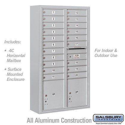 Surface Mounted 4C Horizontal Mailbox Unit (Includes 3716D-20 Mailbox and 3816D Enclosure) - Maximum Height Unit (57-7/8 Inches) - Double Column - 20 MB1 Doors / 2 PL4.5's
