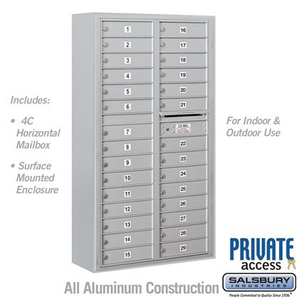 Surface Mounted 4C Horizontal Mailbox Unit (includes 3716D-29 Mailbox, 3816D Enclosure and Master Commercial Locks) - Maximum Height Unit (57 3/4 Inches) - Double Column - 29 MB1 Doors - Front Loading - Private Access
