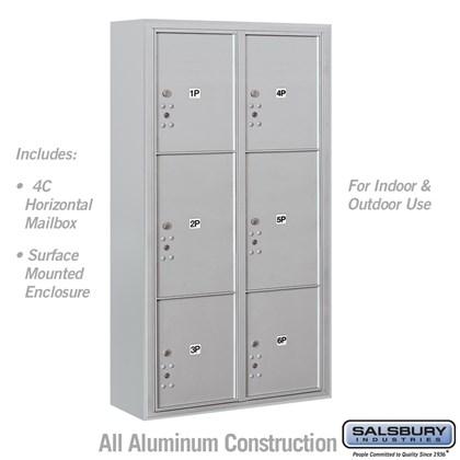 Surface Mounted 4C Horizontal Mailbox Unit (Includes 3716D-6P Parcel Locker and 3816D Enclosure) - Maximum Height Unit (57-3/4 Inches) - Double Column - Stand-Alone Parcel Locker - 2 PL4.5's, 2 PL5's and 2 PL6's