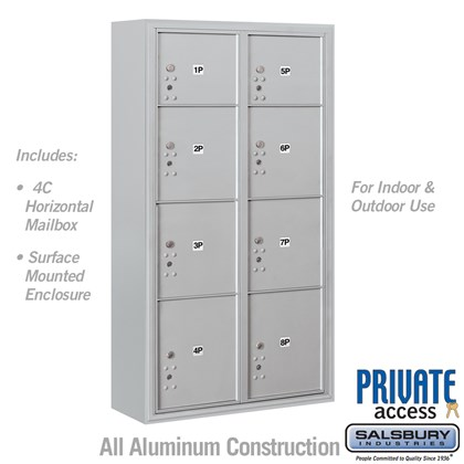 Surface Mounted 4C Horizontal Mailbox Unit (Includes 3716D-8P Parcel Locker, 3816D Enclosure and Master Commercial Locks) - Maximum Height Unit (57 3/4 Inches) - Double Column - Stand-Alone Parcel Locker - 2 PL3's, 4 PL4's and 2 PL4.5's - Front Loading - Private Access