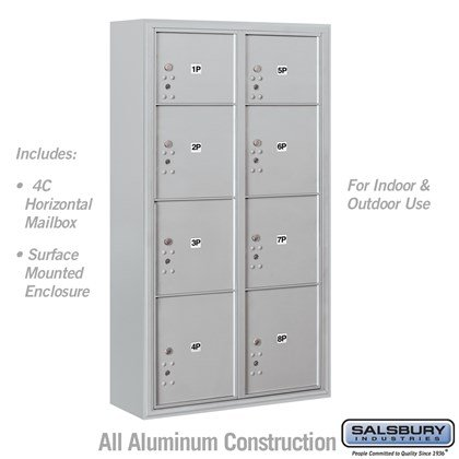 Surface Mounted 4C Horizontal Mailbox Unit (Includes 3716D-8P Parcel Locker and 3816D Enclosure) - Maximum Height Unit (57-7/8 Inches) - Double Column - Stand-Alone Parcel Locker - 2 PL3's, 4 PL4's and 2 PL4.5's - Front Loading - USPS Access