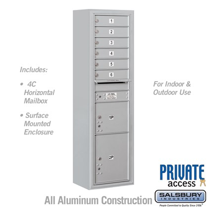 Surface Mounted 4C Horizontal Mailbox Unit (includes 3716S-06 Mailbox, 3816S Enclosure and Master Commercial Locks) - Maximum Height Unit (57 3/4 Inches) - Single Column - 6 MB1 Doors / 1 PL3 and 1 PL4.5 - Front Loading - Private Access