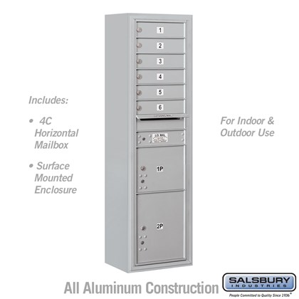 Surface Mounted 4C Horizontal Mailbox Unit (includes 3716S-06 Mailbox and 3816S Enclosure) - Maximum Height Unit (57-7/8 Inches) - Single Column - 6 MB1 Doors / 1 PL3 and 1 PL4.5 - Front Loading - USPS Access