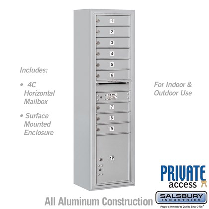 Surface Mounted 4C Horizontal Mailbox Unit (Includes 3716S-09 Mailbox, 3816S Enclosure and Master Commercial Locks) - Maximum Height Unit (57 3/4 Inches) - Single Column - 9 MB1 Doors / 1 PL4.5