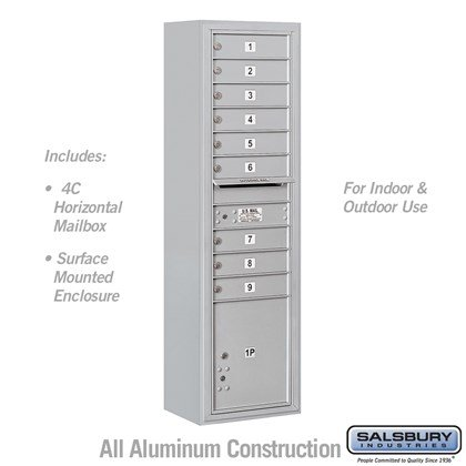 Surface Mounted 4C Horizontal Mailbox Unit (Includes 3716S-09 Mailbox and 3816S Enclosure) - Maximum Height Unit (57-7/8 Inches) - Single Column - 9 MB1 Doors / 1 PL4.5