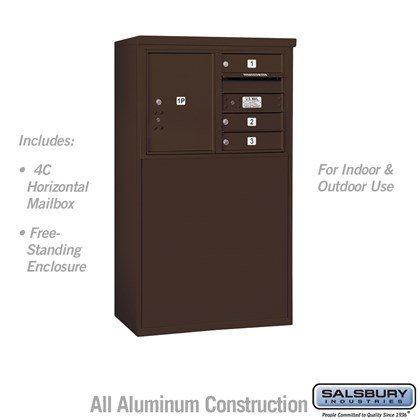 Free-Standing 4C Horizontal Mailbox Unit (Includes 3705D-03ZFU Mailbox and 3905D-BRZ Enclosure) - 5 Door High Unit (48-1/4 Inches) - Double Column - 3 MB1 Doors / 1 PL5 - Bronze - Front Loading - USPS Access
