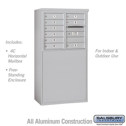 Free-Standing 4C Horizontal Mailbox Unit (Includes 3706D-09 Mailbox and 3906D Enclosure) - 6 Door High Unit (51-3/4 Inches) - Double Column - 9 MB1 Doors