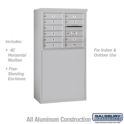 Free-Standing 4C Horizontal Mailbox Unit (Includes 3706D-10 Mailbox and 3906D Enclosure) - 6 Door High Unit (51-3/4 Inches) - Double Column - 10 MB1 Doors
