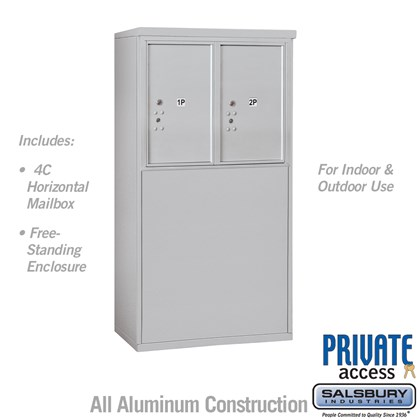 Free-Standing 4C Horizontal Mailbox Unit (Includes 3706D-2P Parcel Locker and 3906D Enclosure) - 6 Door High Unit (52 7/8 Inches) - Double Column - Stand-Alone Parcel Locker - 2 PL6's - Private Access