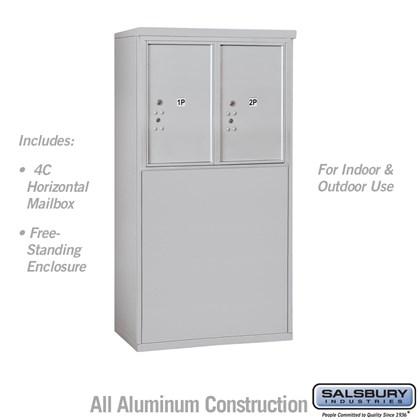 Free-Standing 4C Horizontal Mailbox Unit (Includes 3706D-2P Parcel Locker and 3906D Enclosure) - 6 Door High Unit (51-3/4 Inches) - Double Column - Stand-Alone Parcel Locker - 2 PL6's
