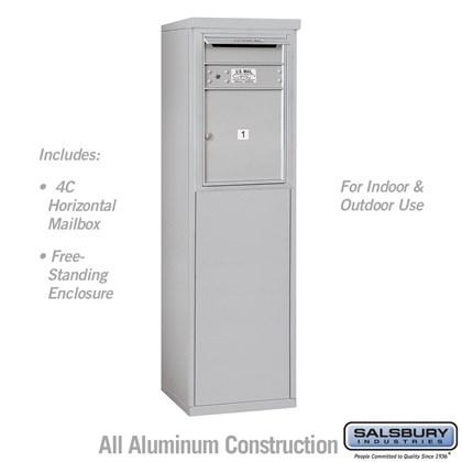 Custom Free-Standing 4C Horizontal Mailbox Unit (Includes 3706S-01 Mailbox and 3906S Enclosure) - 6 Door High Unit (51-3/4 Inches) - Single Column - 1 MB4 Door