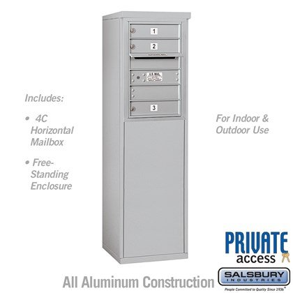 Free-Standing 4C Horizontal Mailbox Unit (includes 3706S-03 Mailbox, 3906S Enclosure and Master Commercial Locks) - 6 Door High Unit (51-3/4 Inches) - Single Column - 3 MB1 Doors - Front Loading - Private Access