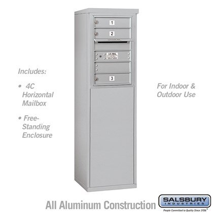 Free-Standing 4C Horizontal Mailbox Unit (Includes 3706S-03 Mailbox and 3906S Enclosure) - 6 Door High Unit (51-3/4 Inches) - Single Column - 3 MB1 Doors - Front Loading - USPS Access