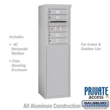 Free-Standing 4C Horizontal Mailbox Unit (Includes 3706S-04 Mailbox and 3906S Enclosure) - 6 Door High Unit (52 7/8 Inches) - Single Column - 4 MB1 Doors - Private Access