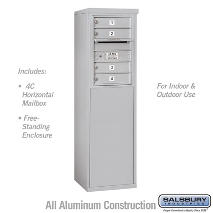 Free-Standing 4C Horizontal Mailbox Unit (Includes 3706S-04 Mailbox and 3906S Enclosure) - 6 Door High Unit (51-3/4 Inches) - Single Column - 4 MB1 Doors