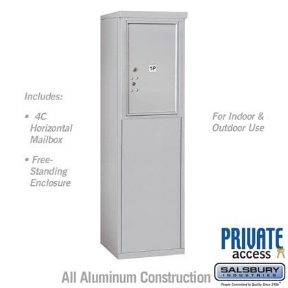 Free-Standing 4C Horizontal Mailbox Unit (Includes 3706S-1P Parcel Locker, 3906S Enclosure) - 6 Door High Unit (52 7/8 Inches) - Single Column - Stand-Alone Parcel Locker - Private Access