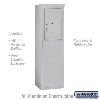 Free-Standing 4C Horizontal Mailbox Unit (Includes 3706S-1P Parcel Locker, 3906S Enclosure) - 6 Door High Unit (51-3/4 Inches) - Single Column - Stand-Alone Parcel Locker