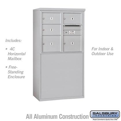 Custom Free-Standing 4C Horizontal Mailbox Unit (Includes 3707D-05 Mailbox and 3907D Enclosure) - 7 Door High Unit (55-1/4 Inches) - Double Column - 3 MB2 Doors and 2 MB3 Doors