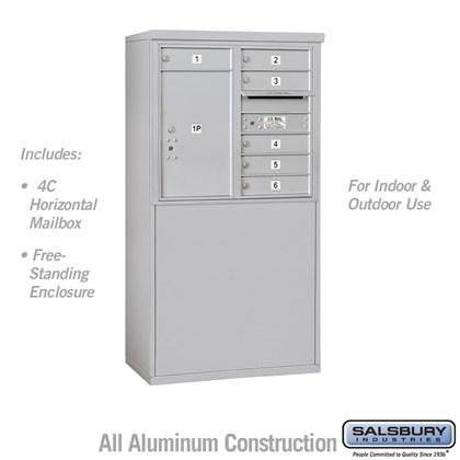Custom Free-Standing 4C Horizontal Mailbox Unit (Includes 3707D-06 Mailbox and 3907D Enclosure) - 7 Door High Unit (55-1/4 Inches) - Double Column - 6 MB1 Doors / 1 PL6