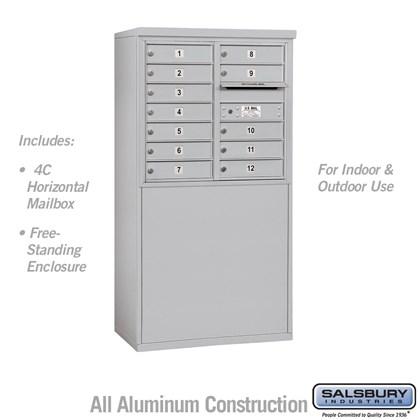 Custom Free-Standing 4C Horizontal Mailbox Unit (Includes 3707D-12 Mailbox and 3907D Enclosure) - 7 Door High Unit (55-1/4 Inches) - Double Column - 12 MB1 Doors