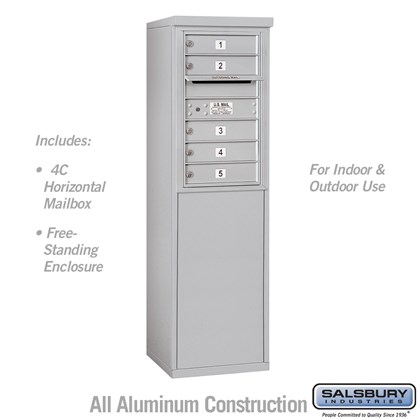Custom Free-Standing 4C Horizontal Mailbox Unit (Includes 3707S-05 Mailbox and 3907S Enclosure) - 7 Door High Unit (55-1/4 Inches) - Single Column - 5 MB1 Doors