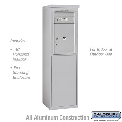 Custom Free-Standing 4C Horizontal Mailbox Unit (Includes 3707S-1P Parcel Locker and 3907S Enclosure) - 7 Door High Unit (55-1/4 Inches) - Single Column - Stand-Alone Parcel Locker - 1 PL5 with Outgoing Mail Compartment