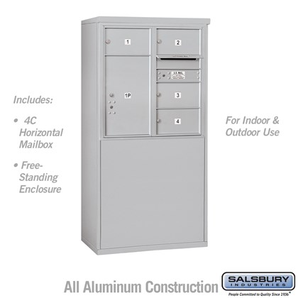 Custom Free-Standing 4C Horizontal Mailbox Unit (Includes 3708D-04 Mailbox and 3908D Enclosure) - 8 Door High Unit (58-3/4 Inches) - Double Column - 4 MB2 Doors / 1 PL6