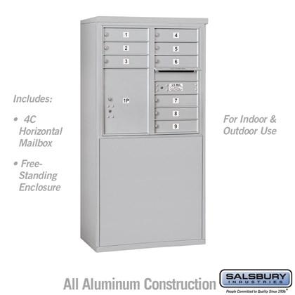 Custom Free-Standing 4C Horizontal Mailbox Unit (Includes 3708D-09 Mailbox and 3908D Enclosure) - 8 Door High Unit (58-3/4 Inches) - Double Column - 9 MB1 Doors / 1 PL5