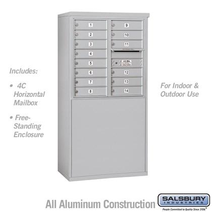 Custom Free-Standing 4C Horizontal Mailbox Unit (Includes 3708D-14 Mailbox and 3908D Enclosure) - 8 Door High Unit (58-3/4 Inches) - Double Column - 14 MB1 Doors