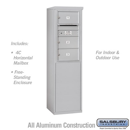Custom Free-Standing 4C Horizontal Mailbox Unit (Includes 3708S-03 Mailbox and 3908S Enclosure) - 8 Door High Unit (58-3/4 Inches) - Single Column - 3 MB2 Doors